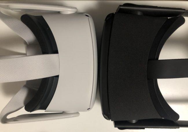 Oculus Quest 2 と初代Questとのサイズ比較画像