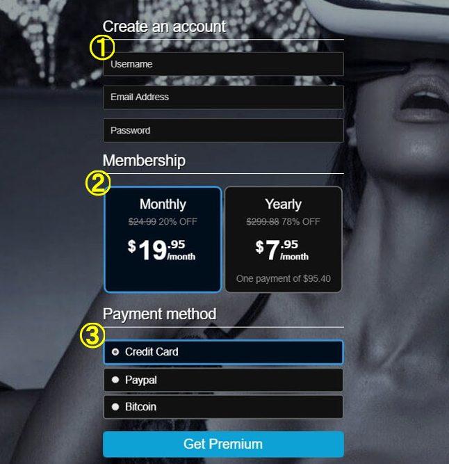 VRPORN有料プラン選択画面